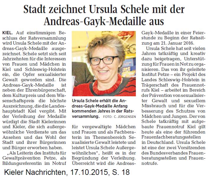 Artikel aus den Kieler Nachrichten vom 17. Oktober 2015: Stadt zeichnet Ursula Schele aus
