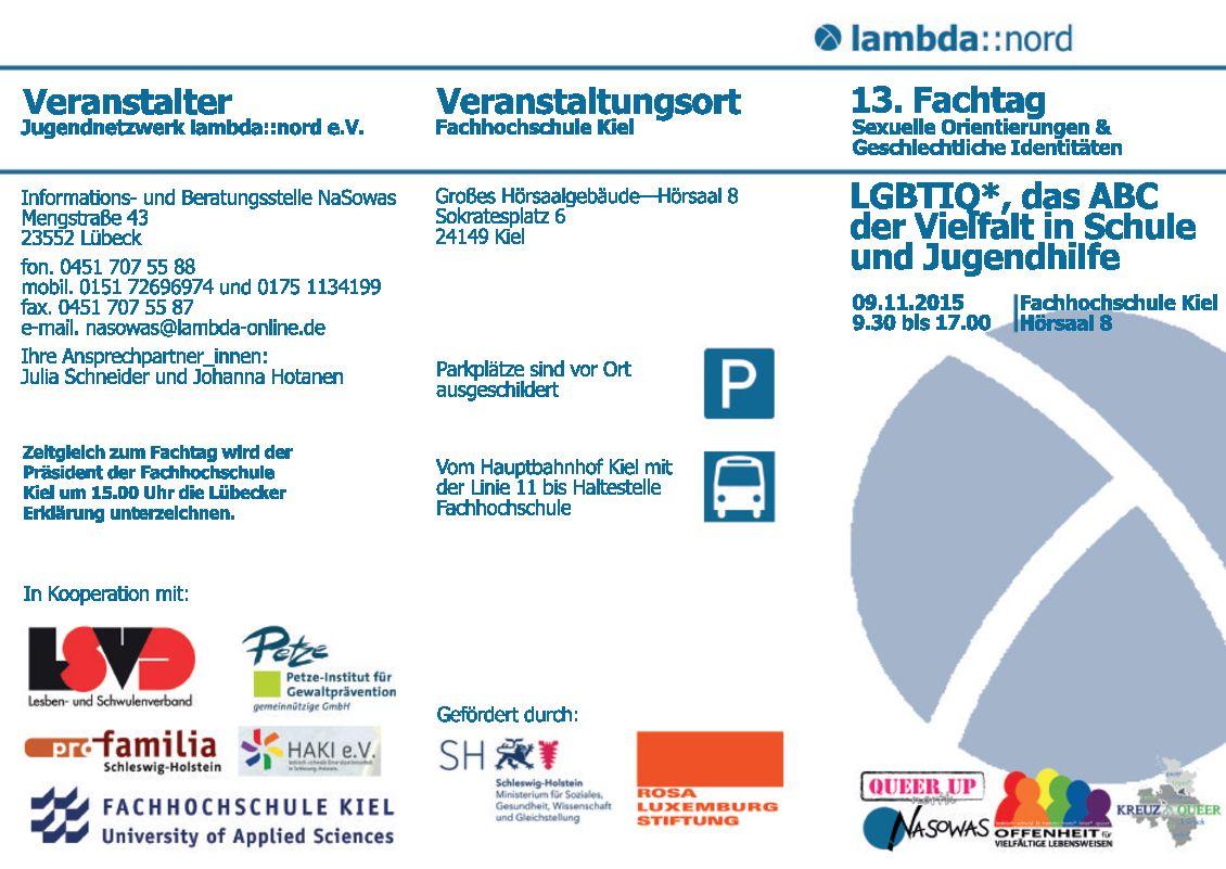 LSBTIQ* - das ABC der Vielfalt in Schule und Jugendhilfe. 13. Fachtag vom Jugendnetzwerk Lambda am 9.11. 9.30-17h in der FH Kiel in Kooperation mit PETZE