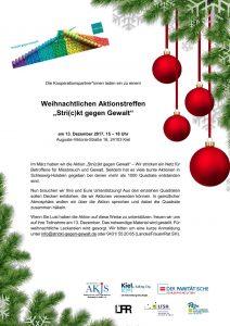 """Die Kooperationspartner*innen laden ein zu einem Weihnachtlichen Aktionstreffen """"Stri(c)kt gegen Gewalt"""" am 13. Dezember 2017, 15 – 18 Uhr Auguste-Viktoria-Straße 16, 24103 Kiel"""