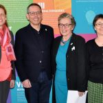 v.l.n.r.: Karin Prien, Bildungsministerin, , Johannes-Wilhelm Rörig, UBSKM, Ursula Schele, PETZE, Monika Heinold, stv. Ministerpräsidentin und Finanzministerin